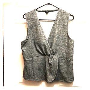 JCrew sleeveless V-neck black and white top